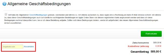 Apple Gutschein einlösen