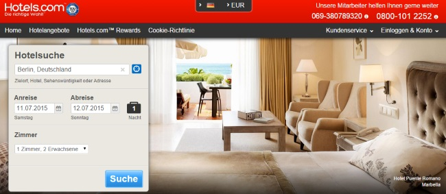 Hotels.com Onlineshop