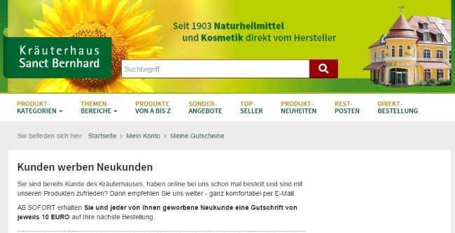 Kräuterhaus Sanct Bernhard Neukundenwerbung