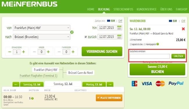 MeinFernbus FlixBus-Gutschein einlösen