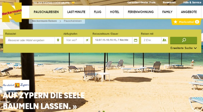 Neckermann Reisen Onlineshop