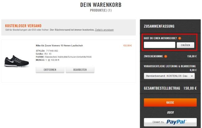 pick up 607aa def26 Nike Gutschein einlösen