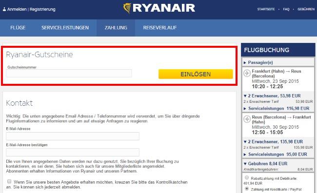 Ryanair Gutschein einlösen