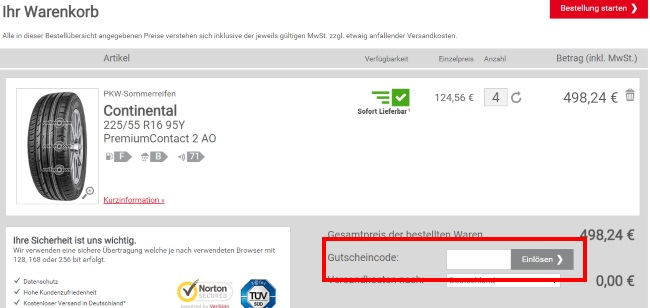reifen.com Gutschein einlösen