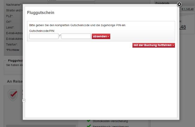 Air Berlin Gutschein einlösen