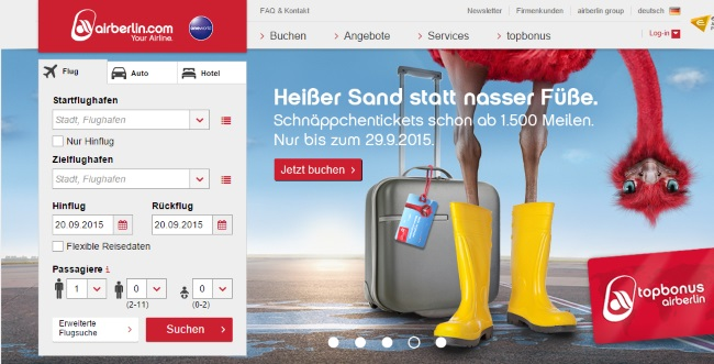 Air Berlin Onlineshop