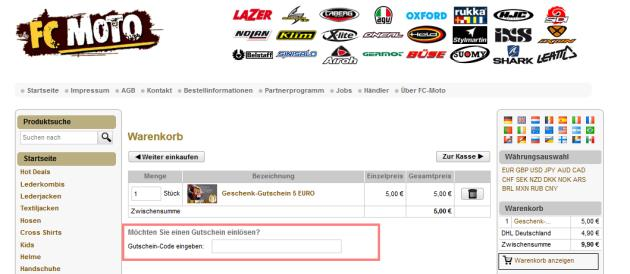 FC Moto Gutschein einlösen