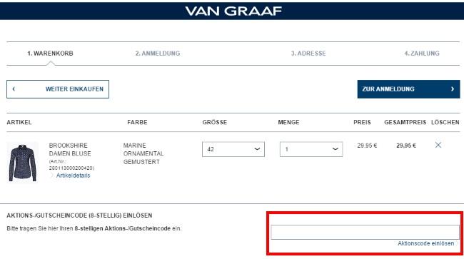 Van Graaf Gutschein einlösen