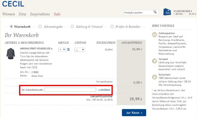 Gratisversand großer Verkauf reduzierter Preis ᐅ CECIL Gutschein » 42 Gutscheincodes « November 2019