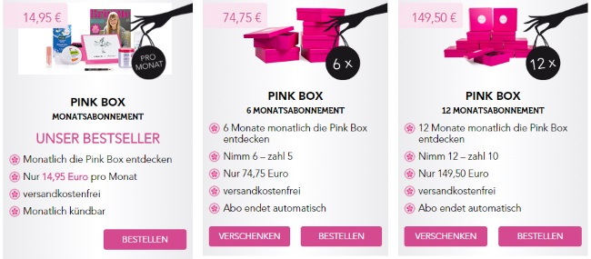Pink Box Boxenwahl