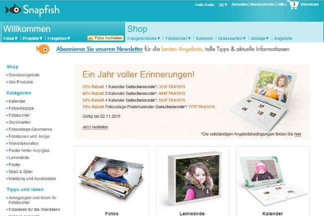 Snapfish Onlineshop