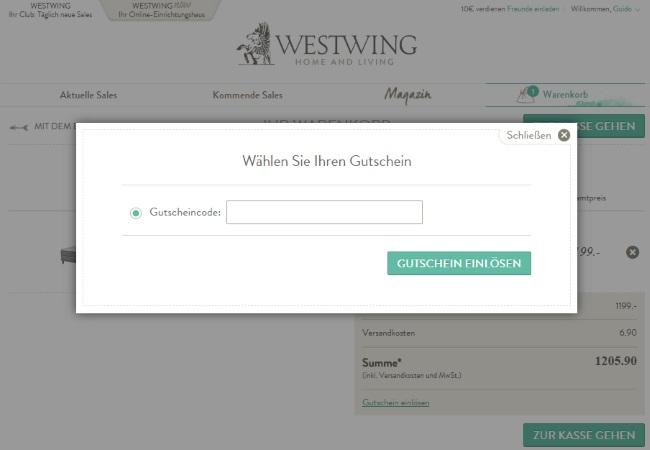 Westwing Gutschein einlösen Club