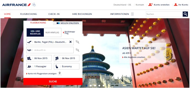 Air France Onlineshop