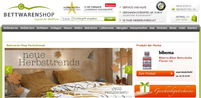 Bettwaren Shop Onlineshop