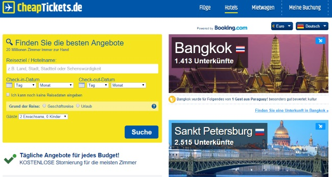 CheapTickets Hotelbuchungen