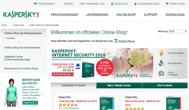 Kspersky Onlineshop