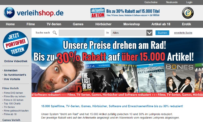 Verleihshop Onlineshop