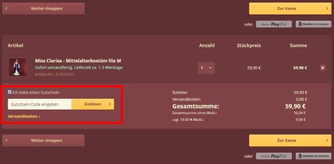 Elbenwald Gutschein einlösen