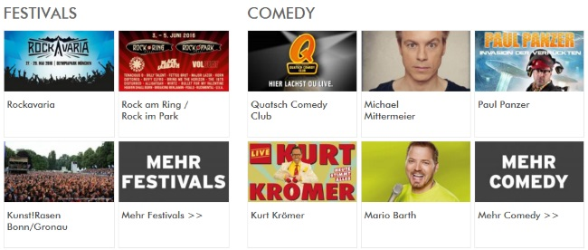 Ticketmaster Festivals und Comedy