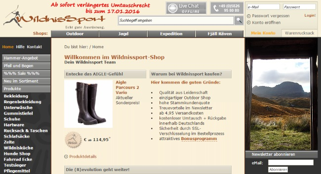 Wildnissport Onlineshop