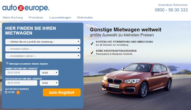 Auto Europe Onlineshop