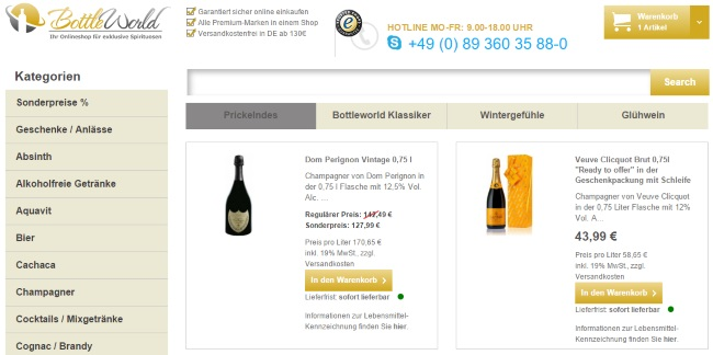 BottleWorld Onlineshop