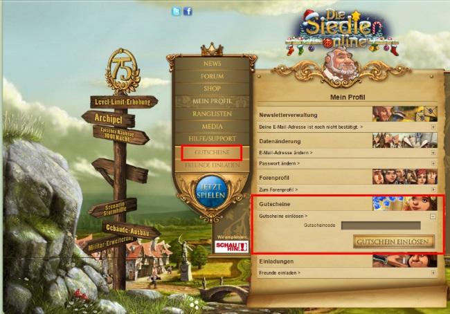 Die Siedler Online Gutscheine einlösen