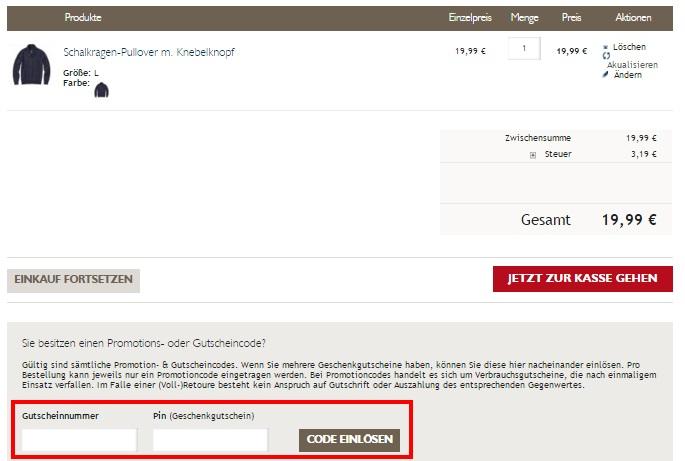 Jeans Fritz Gutschein einlösen