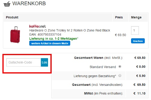 Koffer.net Gutschein einlösen