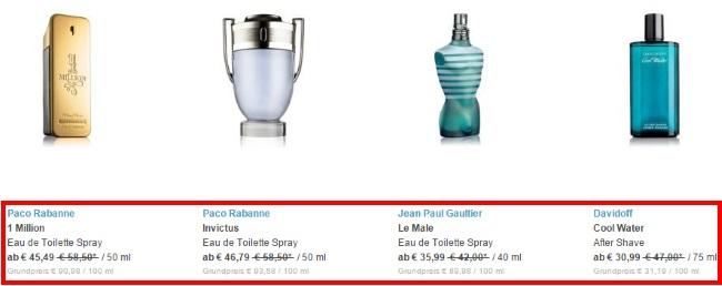 Parfümplatz Sparmöglichkeiten