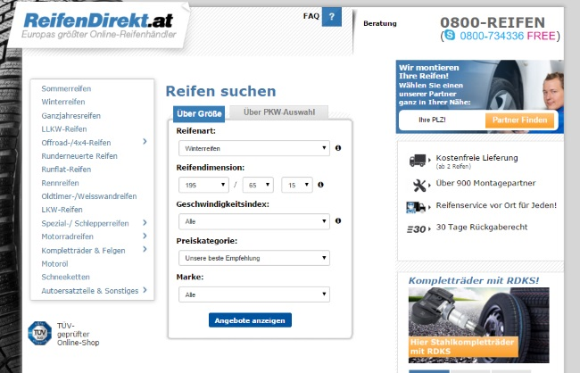 Reifendirekt.at Onlineshop