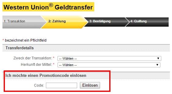 Western Union Gutschein einlösen