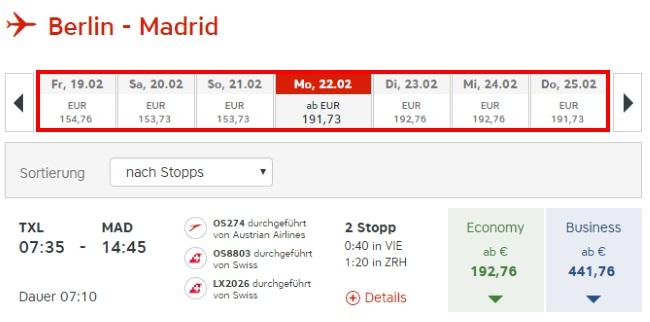 Austrian Airlines Preisübersicht