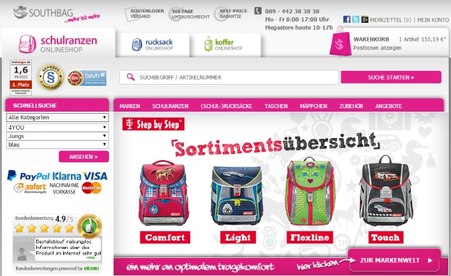 Online kaufen neueste trends von 2019 Turnschuhe für billige ᐅ SCHULRANZEN ONLINESHOP Gutschein Okt. 2019 » 46 Codes