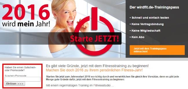 Deutschland wird fit Gutschein einlösen