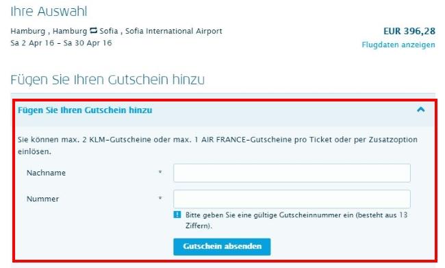KLM Gutschein einlösen