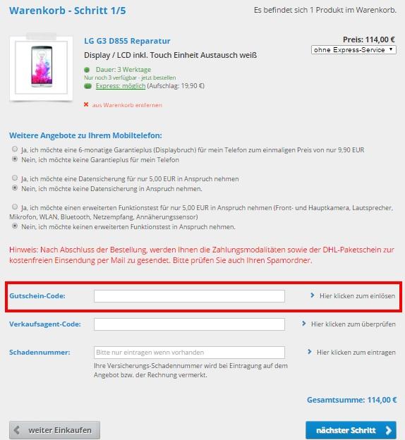 Repair my Phone Gutschein einlösen