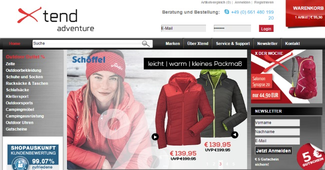 Xtend Adventure Onlineshop