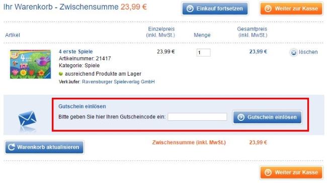 Ravensburger Gutschein einlösen