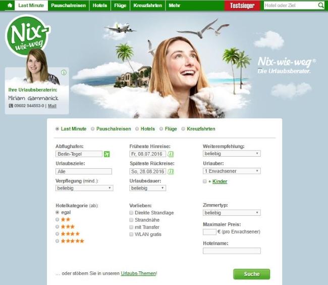 Nix-wie-weg Online-Reisebüro