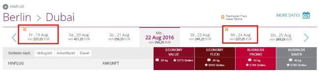 Qatar Airways Preisübersicht