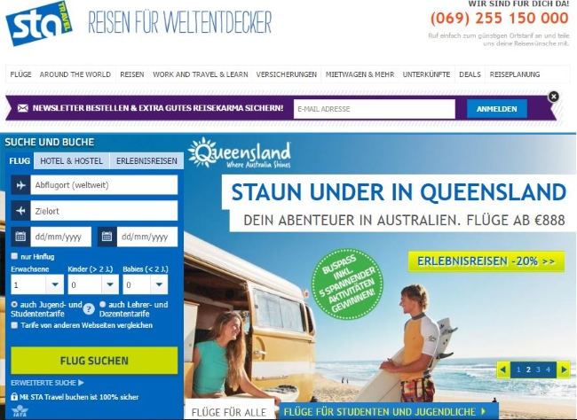 STA Travel Onlineshop