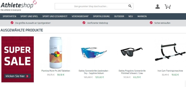 Athleteshop Onlineshop