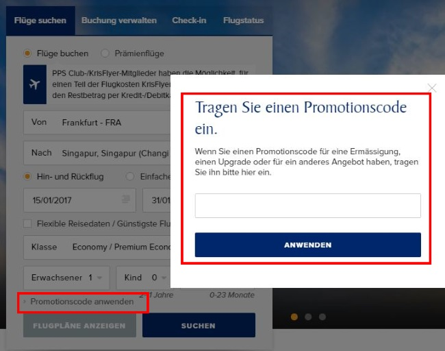 singapore-airlines-promotionscode-eintragen