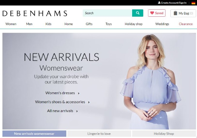 Debenhams Onlineshop
