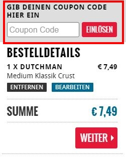Dominos Pizza Coupon Code einlösen