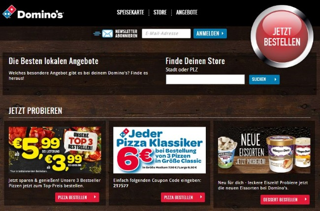 Dominos Pizza Onlinestore