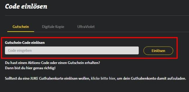 Juke Gutschein-Code einlösen