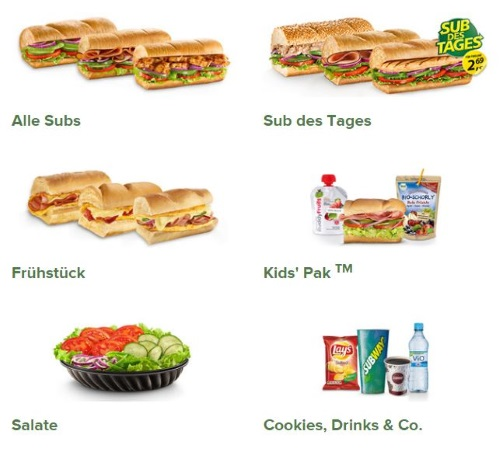 Subway Produktangebot
