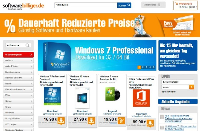 Softwarebilliger Onlineshop